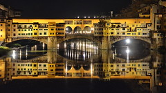 A warm clear night in Florence (gerard eder) Tags: world travel reise viajes europa europe italy italia italien toscana tuscany toskana florence florenz firenze florencia paisajes panorama puentes night noche nacht arno arnoriver sunset reflections spiegelung outdoor oldcity pontevecchio