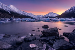 Surrounded (inkasinclair) Tags: mount cook tasman lake sunrise ice glacier new zealand winter aoraki water landscape
