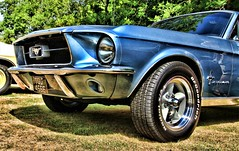 1967 Ford Mustang TGU 456E (BIKEPILOT, Thx for + 4,000,000 views) Tags: classicsattheclubhouse sandfordspringshotelgolfclub kingsclere hampshire uk 1967 ford mustang blue tgu456e photoshop photoshopped hdr car automobile vehicle transport classic sportscar britain england carshow