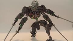 (Oldish) Skull Slicer Revamp. (RaptorTalon) Tags: green bionicle hero factory lego moc skeleton gunmetal sword silver spook