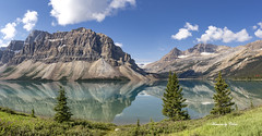 Bow Lake Pano (Canon Queen Rocks (2,342,500 + views)) Tags: sky scenery scenic landscape lake landscapes lakes bowlake mountains mountain clouds reflections water greens bluesky blues nature momentsbycelinecom trees grass jaspernationalpark canada alberta snow tree naturephotography white august summer mountainside