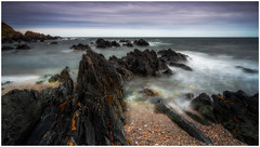 Black and White (Augmented Reality Images (Getty Contributor)) Tags: niisfilters aberdeenshire benro canon clouds coastline horizon landscape longexposure rocks sandend scotland seascape water waves