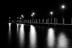 Fishing Pier (swmartz) Tags: nikon nightphotography night nightshoot outdoors august 2018 d610 delaware sussexcounty blackandwhite water fishing pier