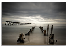 LEND ME YOUR EYES AND I'LL CHANGE WHAT YOU SEE (lynneberry57) Tags: steetleypier hartlepool pier beach coast seascape landscape sky clouds water sea tide movement structures remnants canon70d leefilters nature light summer old