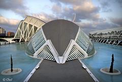 L'Hemisfèric (chelocatala) Tags: lhemisfèric lumbracle museo arquitectura agua cielo nubes atardecer valencia españa