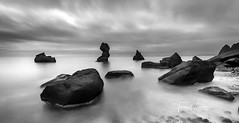 Sea stones (Toi-Vido) Tags: vestmannaeyjar iceland landscape seawater sea sky ský klettar steinar rock rocks longexposures toivido tóivídó