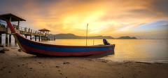 Golden Hour (Ah Wei (Lung Wei)) Tags: air beach clouds fisheye georgetown georgetownpenang landscape light malaysia nature penang penangisland pulaupinang samyang samyang12mmf28edasncsfisheye samyang12mmf28 seascape sun sunlight boats pulauaman jetty jeti sunset