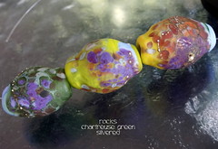 Rocks Chartreuse Green Silvered (Laura Blanck Openstudio) Tags: openstudio openstudiobeads glass murano handmade lampwork set beads jewelry rocks nuggets pebbles stones whimsical funky odd abstract asymmetric earthy organic colorful multicolor made usa fine arts art artisan artist etched matte opaque glow glowing frosted silvered sterling silver lilac lavender purple plum eggplant mauve violet blue periwinkle green apple lime chartreuse kiwi parrot orange coral ocher bohemian upscale boho pistachio frit