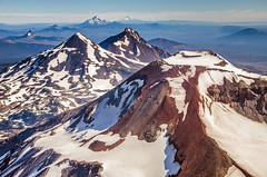 Volcano Row (Tom Fenske Photography) Tags: oregon aerial flight landscape mountain volcano cascades sisters jefferson hood