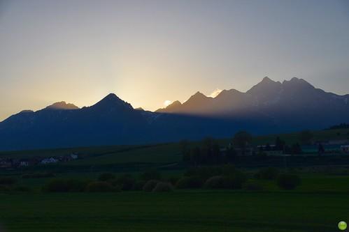 Sunset behind Tatra Mountains