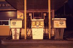 Old pumps (Orion Alexis) Tags: film 120 medium format 6x9 fuji fujichrome gw690 provia 400f 400 night street urban gas station petrol abandoned old