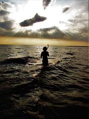 Thom snorkelling in the evening sea. (glen joe davies) Tags: sunset sun ocean snorkel diver crepuscular twighlight sea swimmer
