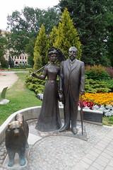Statue of former mayor (koukat) Tags: riga travel latvia park river moat bastion flowers monument viaje parque flores bastejkalna