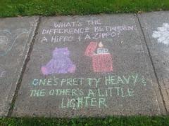Dad Joke on the sidewalk (Fred:) Tags: dadjoke hippo zippo chalk drawings drawing sidewalk trottoir dessin dessins craie funny cute halifax novascotia westend kids children heavy lighter dad joke