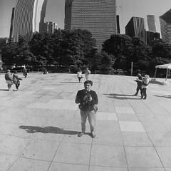 selfie (doistrakh) Tags: chicago illinois cloudgate millenniumpark usa unitedstates travel america tlr twinlensreflex rolleiflex rolleiflex35e mediumformat vintageanalogue vintagecamera 120camera 120film 6x6 square film monochrome bw blackandwhite city cityscape reflection fujifilm neopan acros100 selfie