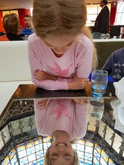 Violet Reflected In The Mirrored Table Underneath The Stained Glass Dome At Brasserie Printemps (Joe Shlabotnik) Tags: 2018 justviolet stainedglass reflection violet printemps march2018 cameraphone galaxys7