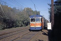 US PA Philadelphia SEPTA-PSTC Red Arrow 9 2-1977 (David Pirmann) Tags: pa pennsylvania philadelphia septa redarrow pstc philadelphiasuburbantransco interurban train trolley tram transit railroad