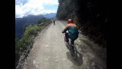Downhill on the Death Road, Bolivia (mybolivia) Tags: bicycle bike biking bolivia coroico cycling death downhill extreme juliocrs lacumber lapaz mountain race ride riding road trail