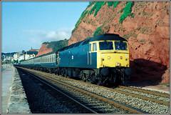 47578, Dawlish (Jason 87030) Tags: brblue britishrail scan blue locomotive engine diesel class47 yellow seawall seafront dawlish warren railway tracks scene 1984 duff spoon 46578 service paignton loco