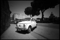Fierce Fiat 500 Parking (Giorgio Verdiani) Tags: voigtlander superwide bessa bessal heliar 15mm film pellicola blackandwhite biancoenero 24x36 agfa apx 100asa 100iso vöigtlander sicilia sicily messina island isola me mediterranean mediterraneo street strada parking parcheggio car auto automobile fiat 500