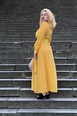 Yellow dress on the steps (piotr_szymanek) Tags: kasia kasiak portrait outdoor woman young yellow dress blonde steps 1k 20f 50f