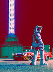 Laika Lightsaber (Laika Yeener) Tags: light l16 laika furry machine glassworks mazda rx7 fursuit nighttime