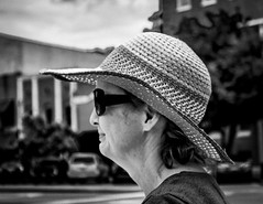 Straw Hat and Shades (Shane Clements) Tags: streetphotograpy onthestreet onthestreets people blackandwhite monochrome