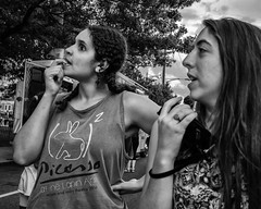 Ridge Ave., 2017 (Alan Barr) Tags: philadelphia roxborough nightmarket 2017 street sp streetphotography streetphoto blackandwhite bw blackwhite mono monochrome candid people city panasonic lumix gx7