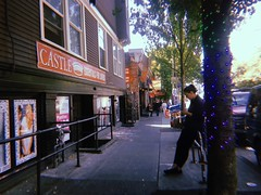 Niji hikari, and the ki (WallisColours) Tags: trees lights people pnw pacificnorthwest westcoast rainbowlights sidewalk streetphotography city town streetview washingtonstate washington seattle