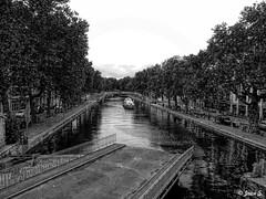... (Jean S..) Tags: bridge canal boat bw river water trees paris blackandwhite monochrome