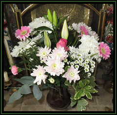 Birthday Bouquet (M E For Bees (Was Margaret Edge The Bee Girl)) Tags: bouquet vase flowers flowerscolors blooming blooms indoors fireplace hearth white pink petals lilies gerberas rose chrysanthemums sprays pinks fireguard canon summer birthday foliage brass celebration