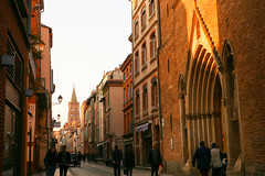 (litrator) Tags: toulouse france europe city old town street sunset lightning light church people