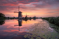 Kinderdijk sunset (Mario Visser) Tags: kinderdijk sunset unesco windmill molenwaard water reflection fujifilm mariovisser
