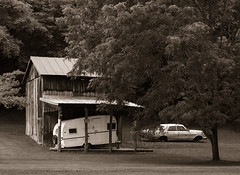 Vehicles (efo) Tags: bw digital notfilm trailer car barn virginia rockbridgecounty