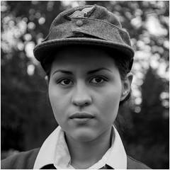 IMG_4111 - Marcela (David-Hall) Tags: bw marcela woman 1940s 2015 uniform