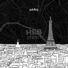 [Maps and Sketches] Paris skyline with map (Hebstreits) Tags: architecture areal background black building business city cityscape dame design destination detailed drawing drawn eiffel france french hand illustration landmark line map museum nightlife notre old outline panorama paris pencil place plan poster road roof sights silhouette sketch skyline skylinewithmap style top tourism tower town travel urban vector white