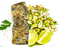Monday dinner. Baked seeded salmon with fennel and avocado lime salad. (garydlum) Tags: blackpepper fennel poppyseeds avocado salmon redonion chilliflakes iodisedsalt springonion chillies sichuanseasoning limezest limejuice lime sesameseeds parsley yarralumla australiancapitalterritory australia au