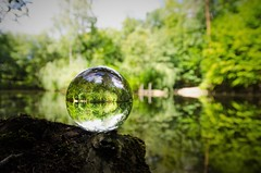 Nature globe (DrQ_Emilian) Tags: nature landscape view forest woods lake water trees green colors light details bokeh reflection glassglobe globe wanderlust travel visit eichensee stetten kernen remstal remsmurrkreis badenwürttemberg germany europe outdoors photography hobby
