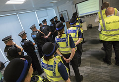 Operation Infinity - Metrolink (Greater Manchester Police) Tags: travelsafe operationinfinity metrolink pcso centralpark policeofficers policeoperations policebriefing