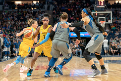 Diamond DeShields (1) defends the ball against Lindsay Whalen (13) and Maya Moore (23) (Lorie Shaull) Tags: minnesotalynx wnba womensbasketball basketball basketballplayer targetcenter chicagosky diamonddeshields lindsaywhalen mayamoore lynx
