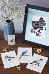 (Girl With Butterfly Wings) Tags: pins prints enamel birds cardinal postcards drawings linocut art
