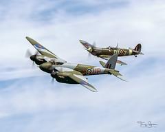 "1945 de Havilland D.H. 98 Mosquito T. Mk. II N959TV ""WAG'S WAR-WAGON"" & 1942 Supermarine 349 Spitfire F.Vc C/N WASP/20/288 N614VC (Hawg Wild Photography) Tags: 1945 de havilland d.h 98 mosquito t mk ii n959tv wagswarwagon 1942 supermarine 349 spitfire fvc cn wasp20288 n614vc carterteeters lance robertson kevin flying heritage combat armor museum 2018 fhcam skyfair paulgallen wwii warbirds terrygreen hawg wild photography painefieldairportkpae snohomishcountywashington eldridge"
