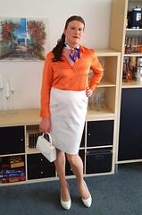 Orange & White (Rikky_Satin) Tags: silk satin blouse scarf jacquard skirt pumps highheels pantyhose nylons crossdresser transvestite tgirl tgurl sissy