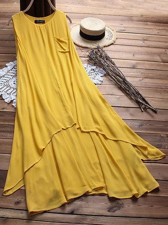 543fa3c6017 Plus Size Women Sleeveless A-line Layered Maxi Dress (1308069)  Banggood (