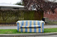 couch (stephen trinder) Tags: stephentrinder stephentrinderphotography aotearoa kiwi landscape thecouchesofchristchurch sofa settee furniture couch used dumped unwanted discarded rotting striped blue yellow fence nz newzealand christchurchnewzealand christchurch