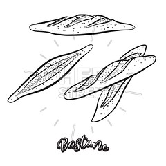 Hand drawn sketch of Bastone bread (Hebstreits) Tags: art authentic baked bakery bastone black bred cane cooked cute delicious design dorothy drawing dry food french fresh hand healthy icon illustration ingredients italian italianstick italy line loaves made outline pen regional rolls rustic semolina served sesame sicilian sketch slice staff vector yeastbread