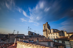 Nîmes' roofs at sunset (simondegraipe) Tags: nîmes gard france longexposure lights night colors ndfilter sky