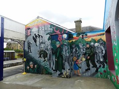 """""""The Long Goodbye"""" 4th Battalion Seaforth Highlanders Mural, Invergordon Railway Station, August 2018 (allanmaciver) Tags: 4th battalion seaforth highlanders worl war tracey shough 2007 invergordon railway station soldiers action remember lestweforget easter ross allanmaciver"""