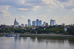 Old and New Warsaw (chelmfoto) Tags: warsaw warszawa poland polska view wisła vistula river water spring sky clouds hdr sunny sun old town new panorama skyscrapers skyscraper wieżowce