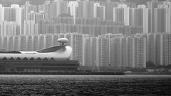 City of Buildings (Wilson Au | 一期一会) Tags: hongkong blackandwhite monochrome eos5dmarkiii ef70200mmf4lisusm highdensity buildings harbour sea kaitakcruiseterminal canon